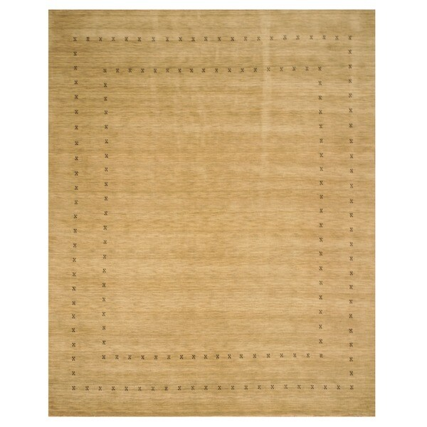 Handmade Wool Beige Traditional Tribal Lori Baft Rug (9' x 12') - 9' x 12'