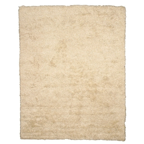 Handwoven Wool & Viscose Ivory Contemporary Solid Shaggy Rug - 5' x 8'