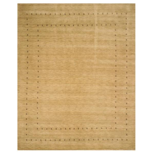 Handmade Wool Beige Traditional Tribal Lori Baft Rug (6' x 9')