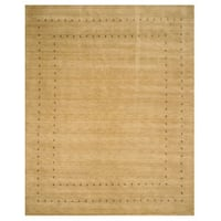 Handmade Wool Beige Traditional Tribal Lori Baft Rug (6' x 9')