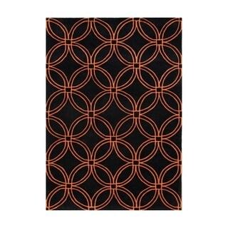Hand-tufted Geometric Black Blended Wool Area Rug (9' x 12')