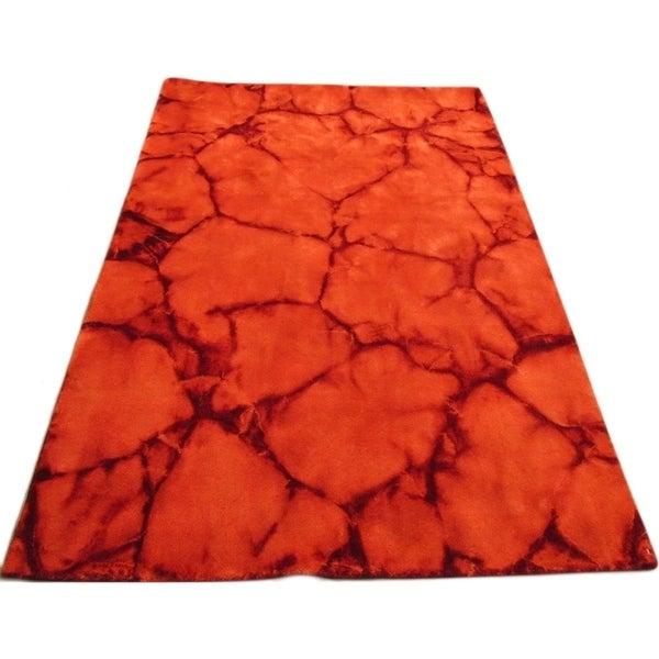 Handmade Dip Dyed Red Wool Area Rug - 5' x 8'