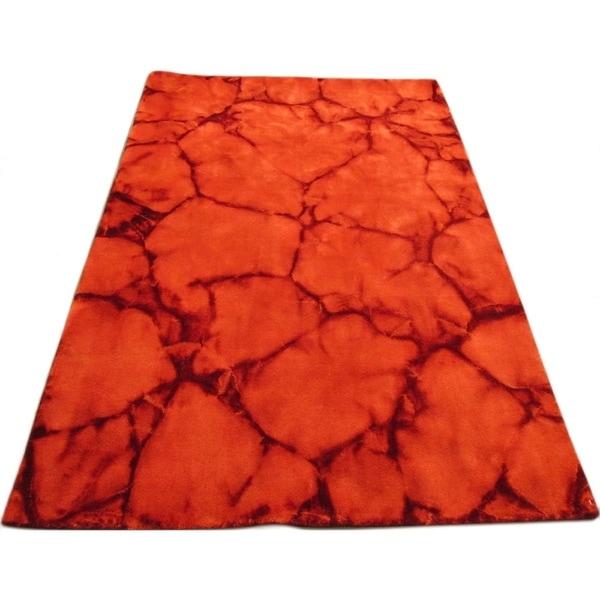 Handmade Dip Dyed Red Wool Area Rug - 8' x 10'