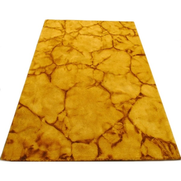 Handmade Dip Dyed Gold Wool Area Rug - 5' x 8'
