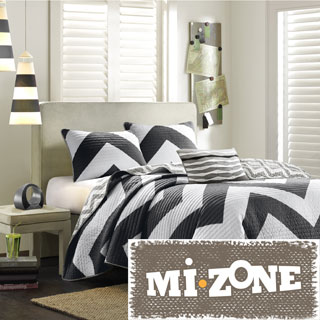 Mi Zone Virgo Black Chevron Reversible 3-piece Quilt Set
