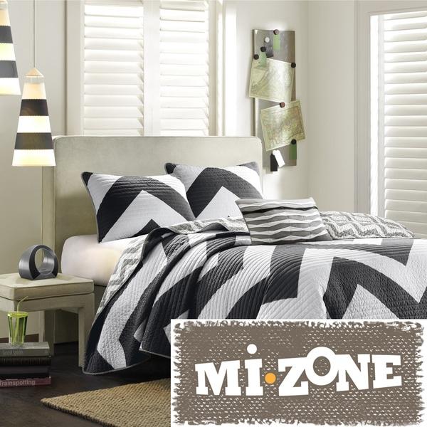 Mi Zone Virgo Black Chevron Reversible 3-piece Quilt Set