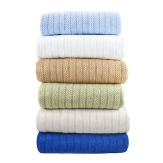 All-season Herringbone Knit Weave Cotton Blanket