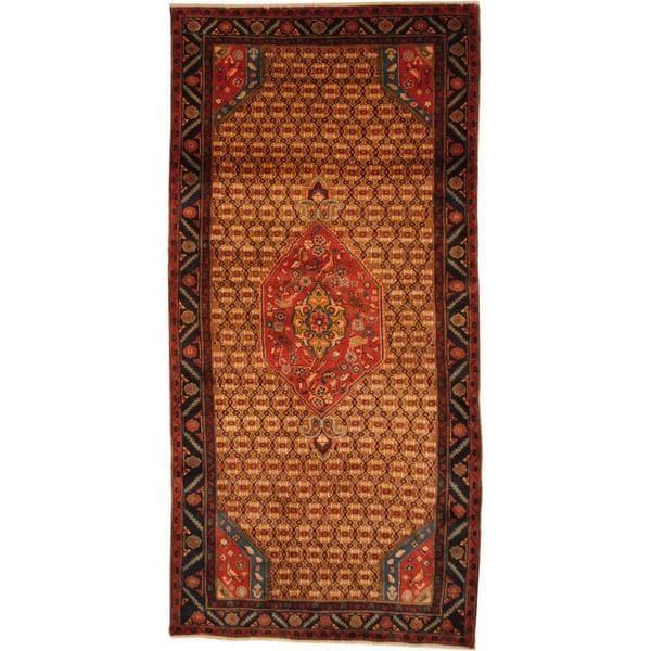 Antique 1970's Persian Hand-knotted Nahavand Hamadan Brown/ Navy Wool Rug (5' x 10')