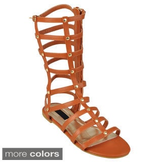 Journee Collection Women's 'Roman' Strappy Studded Gladiator Sandals