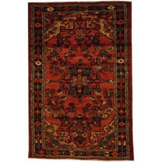 Antique 1970's Persian Hand-knotted Red/ Navy Wool Rug (5' x 7'7)