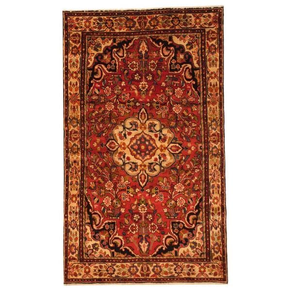 Antique 1970's Persian Hand-knotted Koliae Hamadan Red/ Ivory Wool Rug (5' x 8'7)