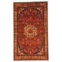 Handmade Antique 1970's Persian Hand-knotted Koliae Hamadan Red/ Ivory Wool Rug - 5' x 8'7