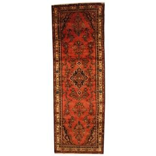 Antique 1970's Persian Hand-knotted Lilihan Hamadan Peach/ Ivory Wool Rug (3'8 x 10'6)