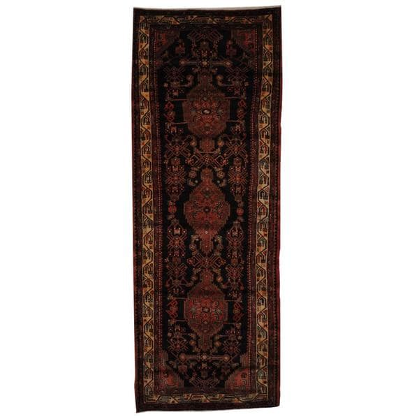 Antique 1970's Persian Hand-knotted Tribal Malayer Hamadan Navy/ Ivory Wool Rug (3'10 x 10'4)