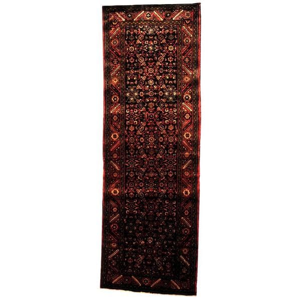 Handmade Antique 1970's Persian Hand-knotted Tribal Husainabad Hamadan Navy/ Rust Wool Rug - 3'7 x 10'8