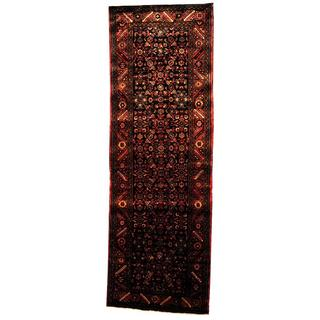 Antique 1970's Persian Hand-knotted Tribal Husainabad Hamadan Navy/ Rust Wool Rug (3'7 x 10'8)