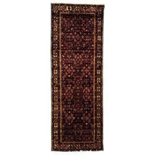 Antique 1960's Persian Hand-knotted Tribal Husainabad Hamadan Navy/ Ivory Wool Rug (3'6 x 9'7)