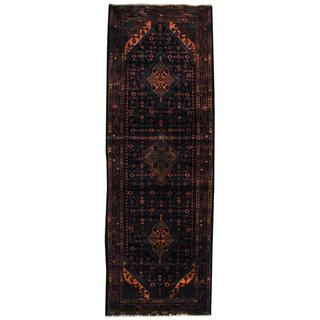Antique 1970's Persian Hand-knotted Tribal Mazlagan Hamadan Navy/ Red Wool Rug (3'8 x 10'9)