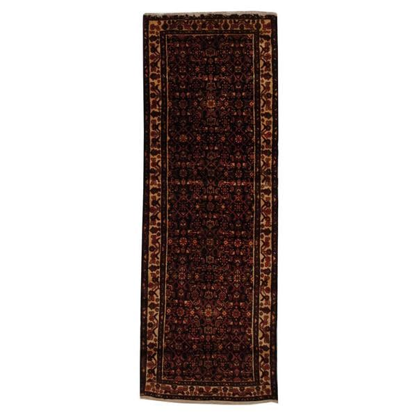 Antique 1970's Persian Hand-knotted Tribal Husainabad Hamadan Navy/ Ivory Wool Rug (3'4 x 9'4)