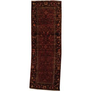 Antique 1960's Persian Hand-knotted Tribal Husainabad Hamadan Red/ Navy Wool Rug (3'4 x 10')