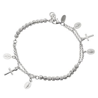 Journee Collection Sterling Silver Cross Charm Bracelet