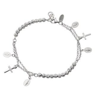 Journee Collection Sterling Silver Cross Charm Bracelet