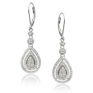 Journee Collection Sterling Silver Cubic Zirconia Tear-drop Earrings