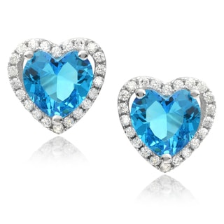 Journee Collection Sterling Silver Cubic Zirconia Heart Earrings