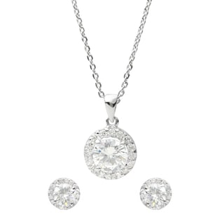 Journee Collection Sterling Silver Cubic Zirconia Round-cut Jewelry Set