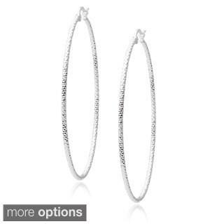 Journee Collection Sterling Silver Diamond-cut Hoop Earrings