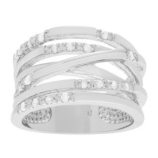 Sterling Silver Cubic Zirconia Multi-strand Ring Band