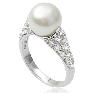 Journee Collection Sterling Silver Cubic Zirconia Faux Pearl Ring