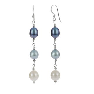 Journee Collection Sterling Silver Freshwater Pearl Drop Earrings (7-8 mm)