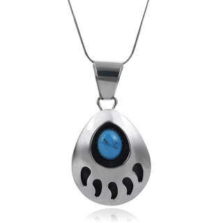 Journee Collection Sterling Silver Turquoise Bear Paw Pendant