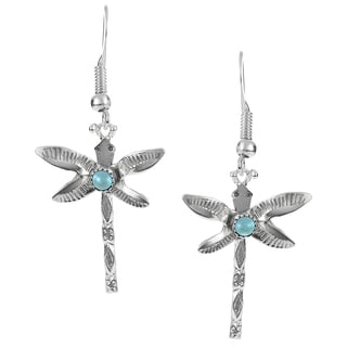 Journee Collection Sterling Silver Turquoise Dragonfly Drop Earrings