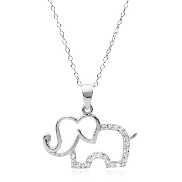 Journee Collection Sterling Silver Cubic Zirconia Elephant Pendant Necklace