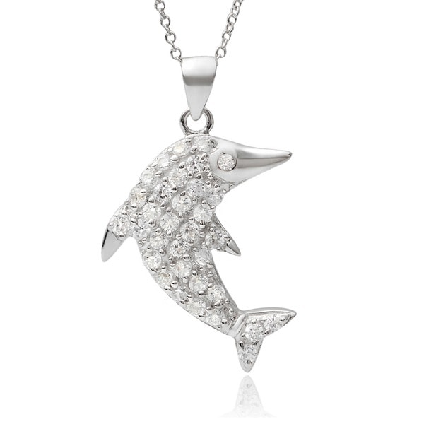 Journee Collection Sterling Silver Cubic Zirconia Dolphin Pendant Necklace