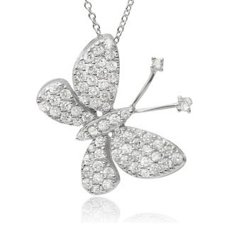 Journee Collection Sterling Silver Cubic Zirconia Butterfly Pendant Necklace