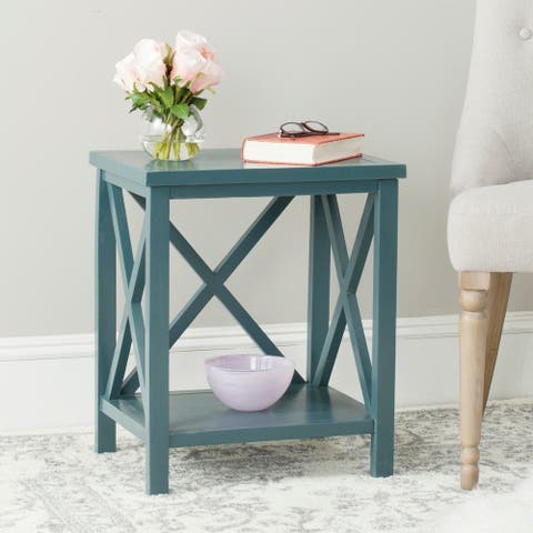 """SAFAVIEH Candence Teal Cross Back End Table - 18.1"""" x 13.4"""" x 21.5"""""""