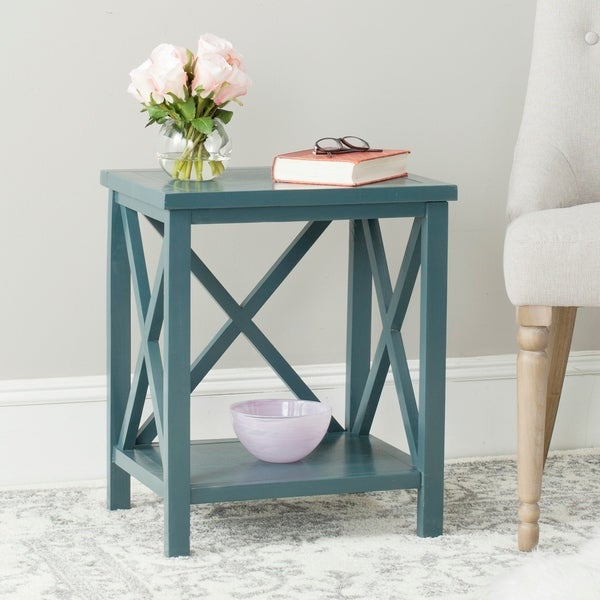 """Safavieh Candence Teal Cross Back End Table - 18.1"""" x 13.4"""" x 21.5"""". Opens flyout."""