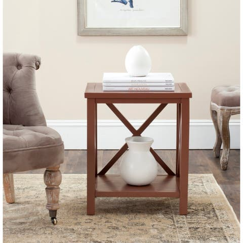 Safavieh Candence Chocolate Brown Cross Back End Table - 0