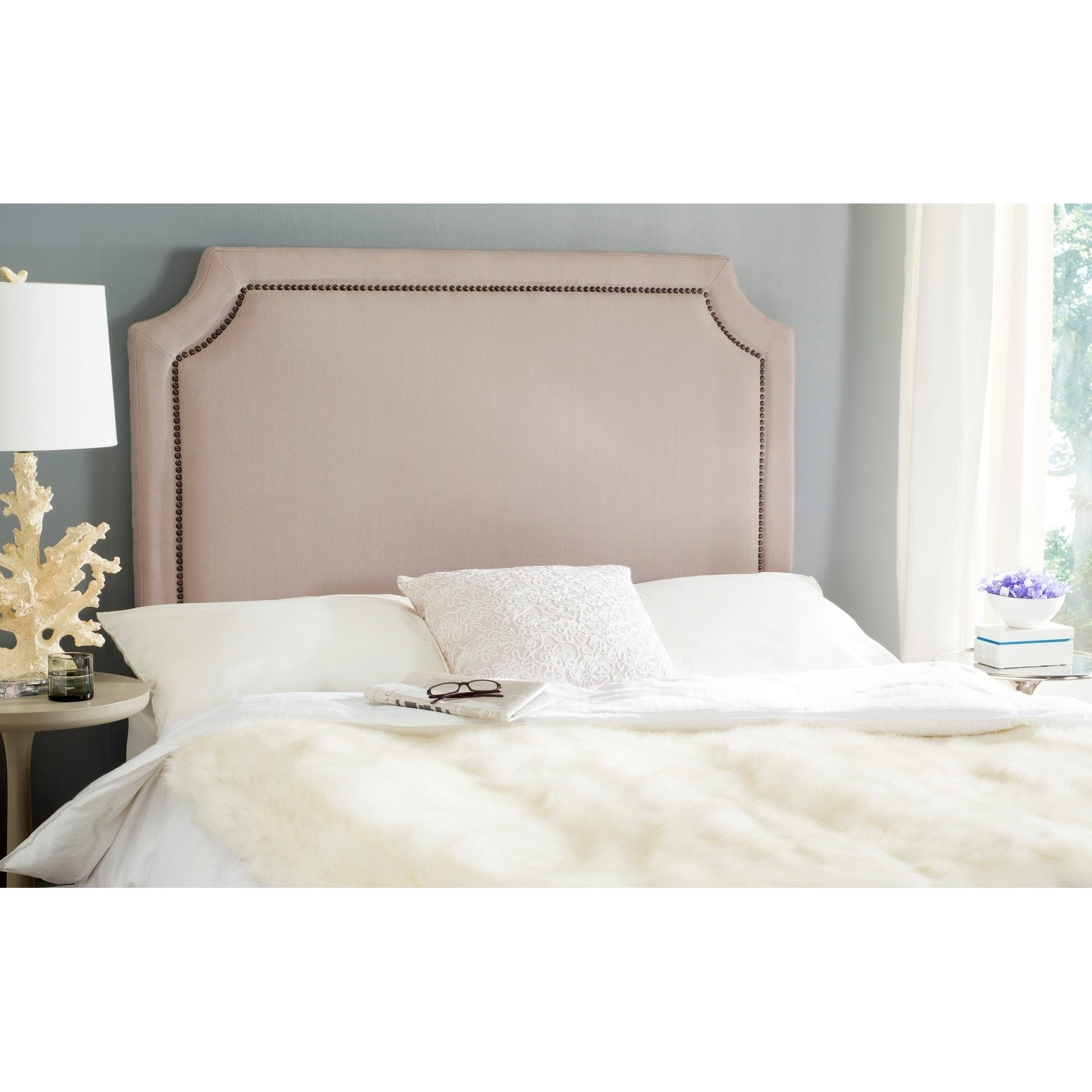 Safavieh Shayne Taupe Linen Upholstered Headboard - Brass...