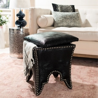 Safavieh Deidra Storage Black PU Leather Ottoman