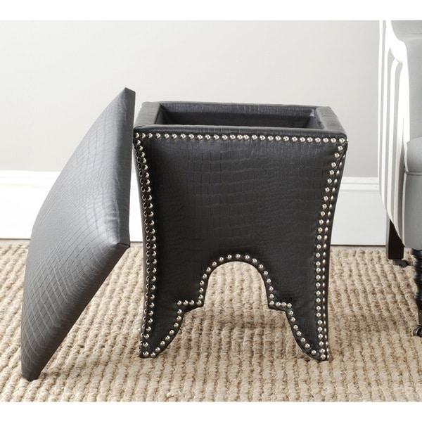 Safavieh Deidra Storage Black PU Leather Ottoman