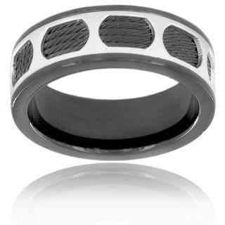Black Plated Stainless Steel Polished Circle Pattern and Wire Ring (8 mm)
