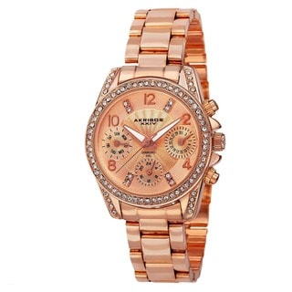 Akribos XXIV Women's Swiss Quartz Diamond-Accented Multifunction Rose-Tone Bracelet Watch