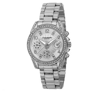 Akribos XXIV Women's Swiss Quartz Diamond-Accented Multifunction Silver-Tone Bracelet Watch