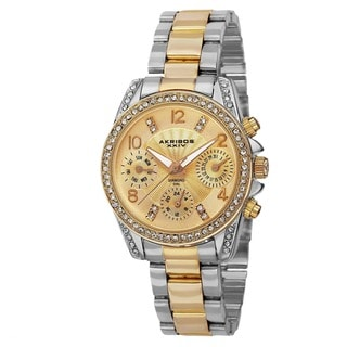 Akribos XXIV Women's Swiss Quartz Diamond-Accented Multifunction Two-Tone Bracelet Watch