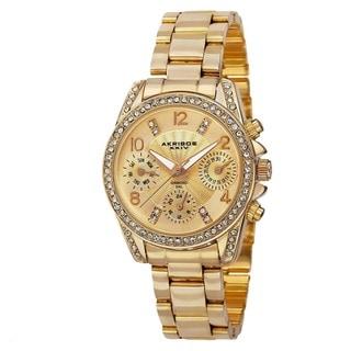 Akribos XXIV Women's Swiss Quartz Diamond-Accented Multifunction Gold-Tone Bracelet Watch with FREE GIFT