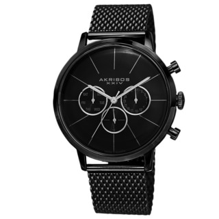 Akribos XXIV Men's Sunray Dial Multifunction Stainless Steel Mesh Black Strap Watch with Gift Box
